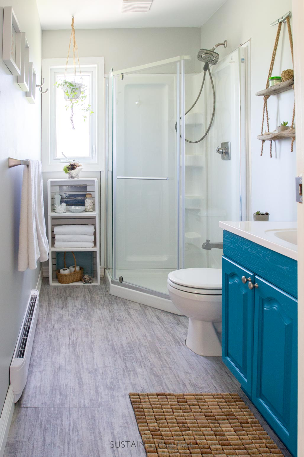 Budget Friendly Beach Themed Bathroom Makeover Sustain My