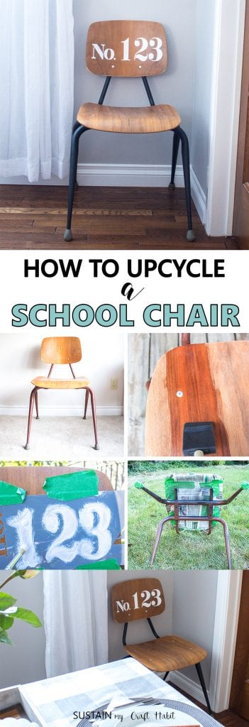 Learn how to refinish a wood chair. Upcycled student chair with a farmhouse style stencil and black matte spray painted legs.