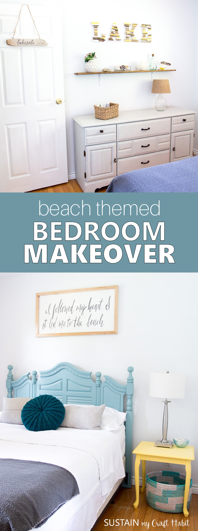 Beach themed bedrooms | Coastal style bedroom makeover | Beachy bedroom decor | Beach house decor on a budget | #coastalstyle #cottagedecor #beachthemedbedroom #beachbedroom #coastaldecor