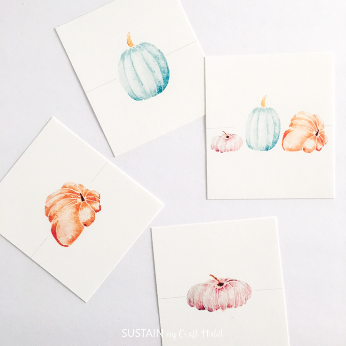 Printable Thanksgiving place cards | Watercolor pumpkin name card printables | Free printables #ThanksgivingCrafts #printable