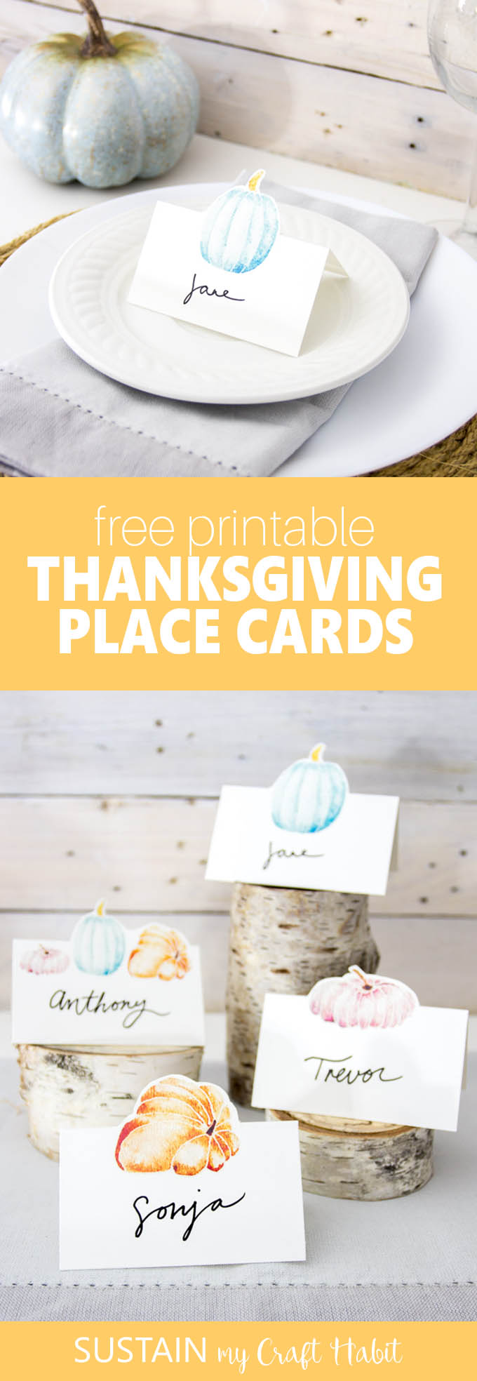 Adorable Thanksgiving free printable place cards | Fall party name cards | Fall wedding table settings | Fall tablescape ideas #thanksgivingdecor #watercolorart #freeprintable #diy #pumpkincraft #papercraft