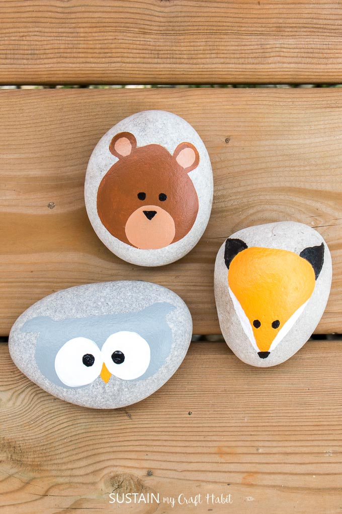 Rock painting ideas such as woodland animals and pumpkins.