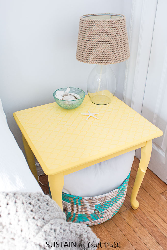 Refinished DecoArt Chalky Finish painted side table in Rejuvinate. Coastal cottage beach themed bedrooms and decor ideas.