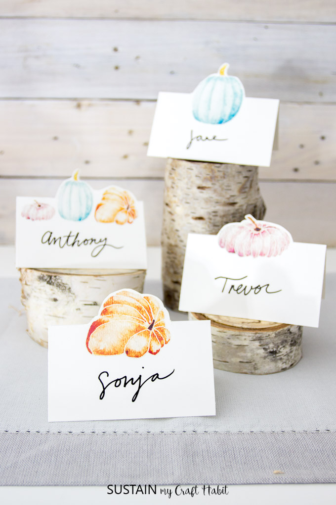 free printable place cards name cards watercolor pumpkins art