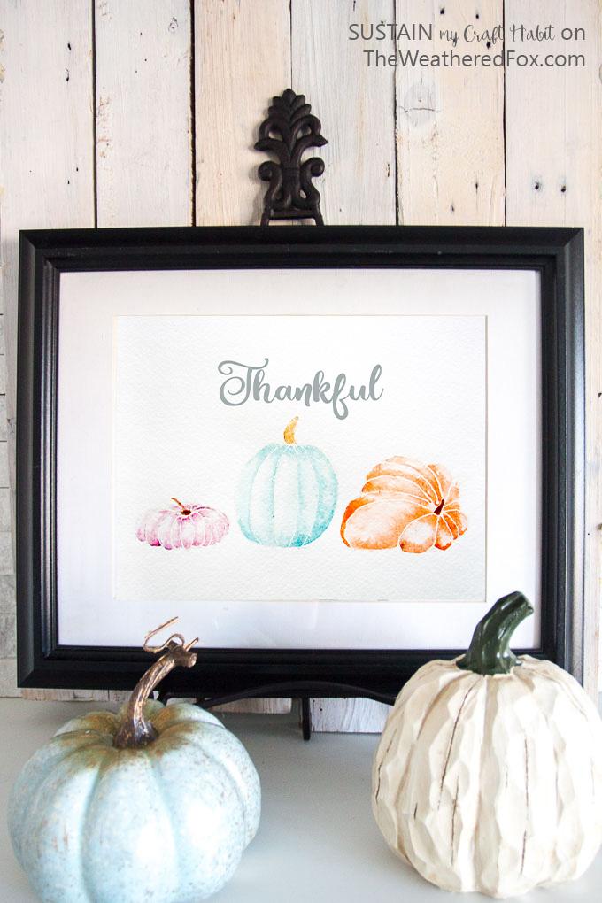 Free fall printable art | Watercolor art print | #Pumpkin art | Autumn printable decor #diy #homedecor #fallart #printable