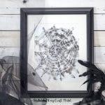 Free watercolor spider web Halloween art. Rustic Halloween decor. Free printable watercolor art.