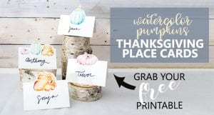 Free printable Thanksgiving place cards | Watercolor pumpkin art
