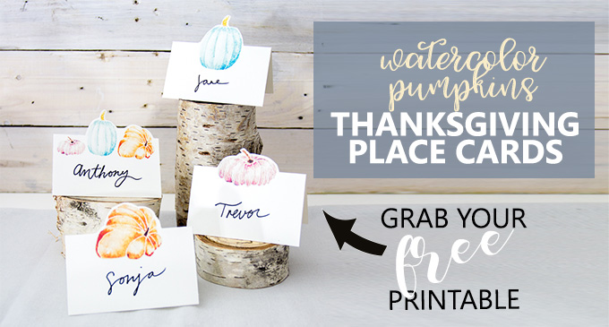 Free printable watercolor pumpkins place cards