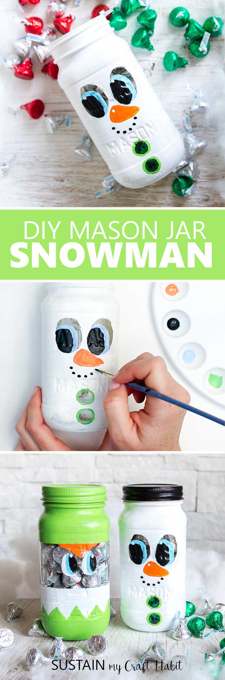 The cutest christmas mason jars gift ideas. Mason Jar Snowman tutorial. Handmade Secret Santa gift idea. DIY Mason Jar Christmas crafts. #masonjar #Christmascraft #DIY #SecretSanta #StockingStuffer