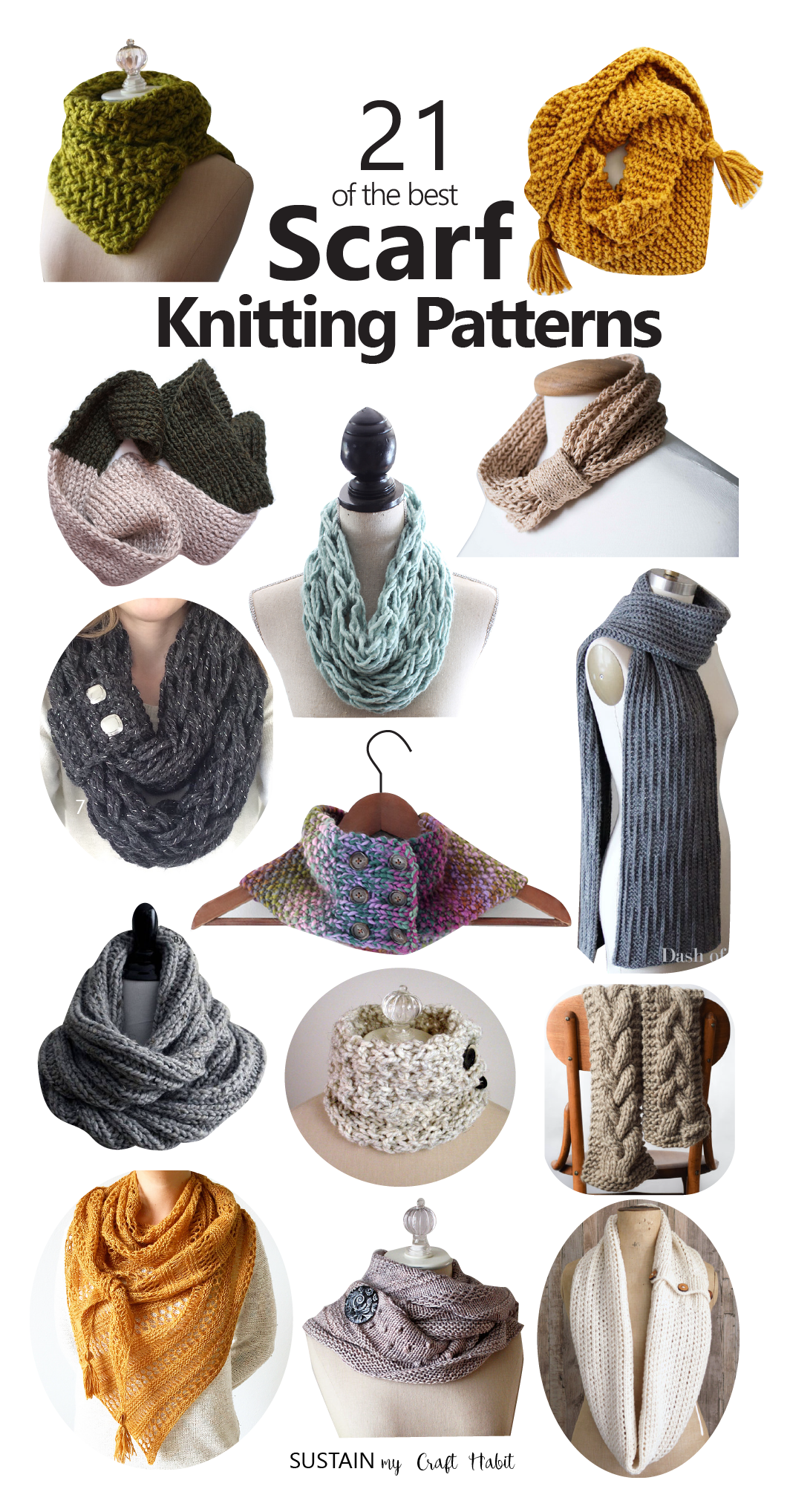 Collage of images showing 14 different scarf knitting patterns