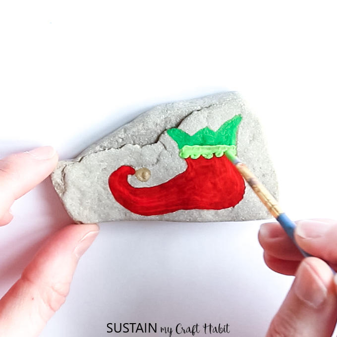 Christmas rock painting
