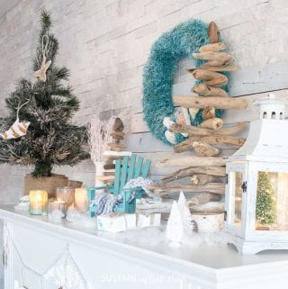 Canadian bloggers Christmas home tours! #cbhometour Cozy Coastal Christmas mantel filled with beautifully beachy DIY ideas for a #coastalChristmas | christmas mantle ideas with fireplaces | #coastal christmas #mantel decorating ideas