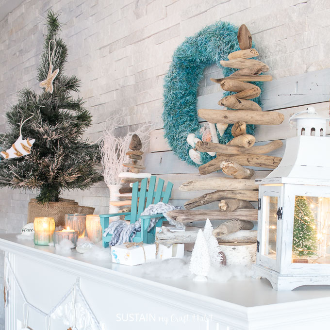 Christmas Mantel Ideas.Cozy Coastal Christmas Mantel In Teal And White Sustain My