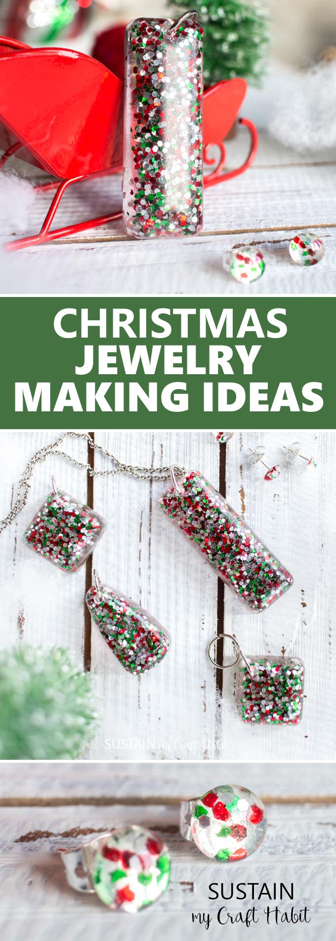 Beautiful handmade Christmas jewelry gift ideas! Resin jewelry making ideas | DIY Christmas earrings gift ideas | How to make resin jewellery #resincrafts #resincraftsblog #diyjewelry