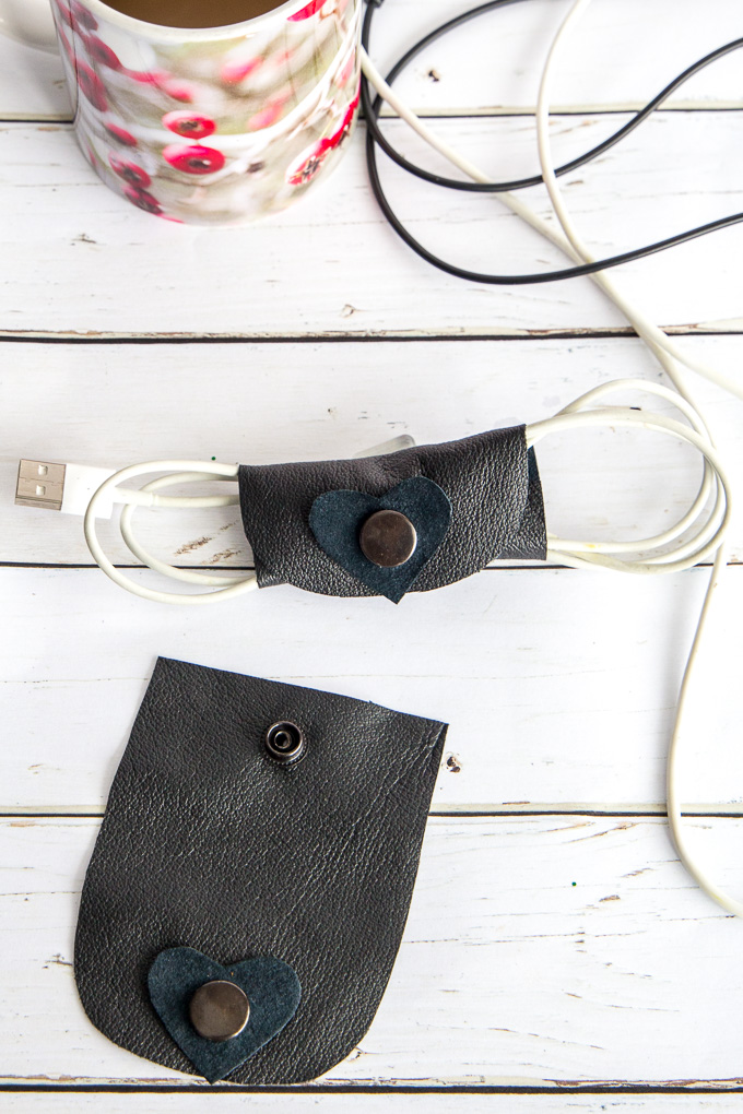 Handmade leather cord organizer for electronics