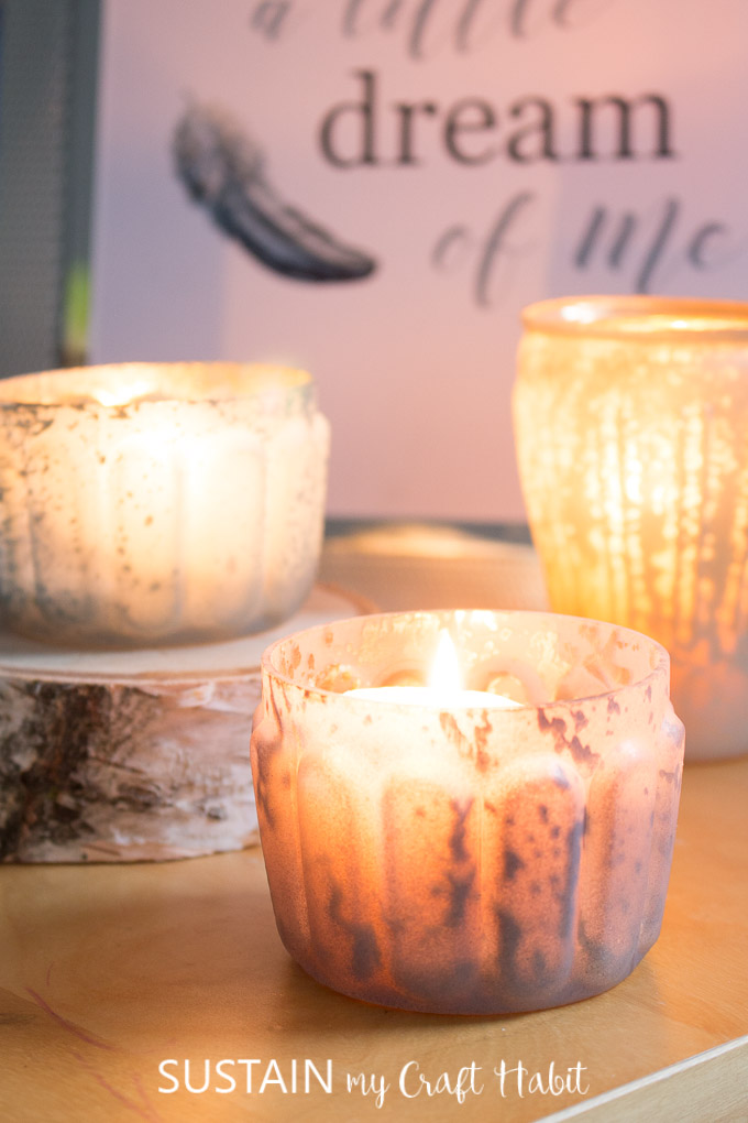 Candles and mercury glass votive holders