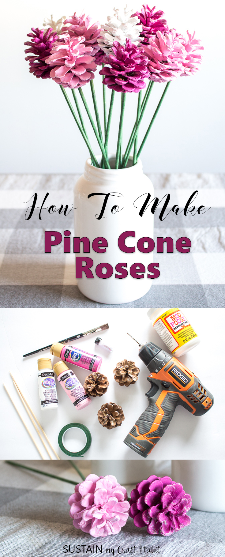 Supplies needed to make pine cone roses