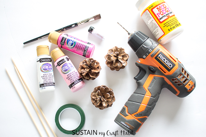Supplies needed to make pine cone roses including paint and a drill