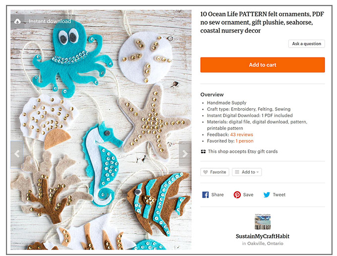 ocean life felt ornament patterns on etsy