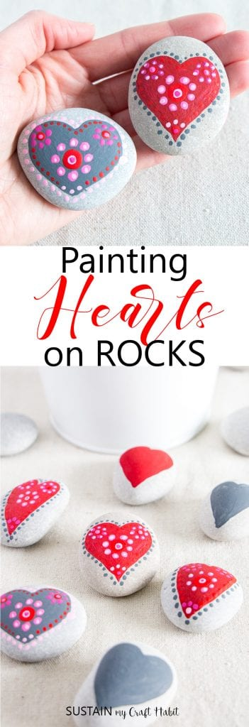 red pink and grey heart painting rocks