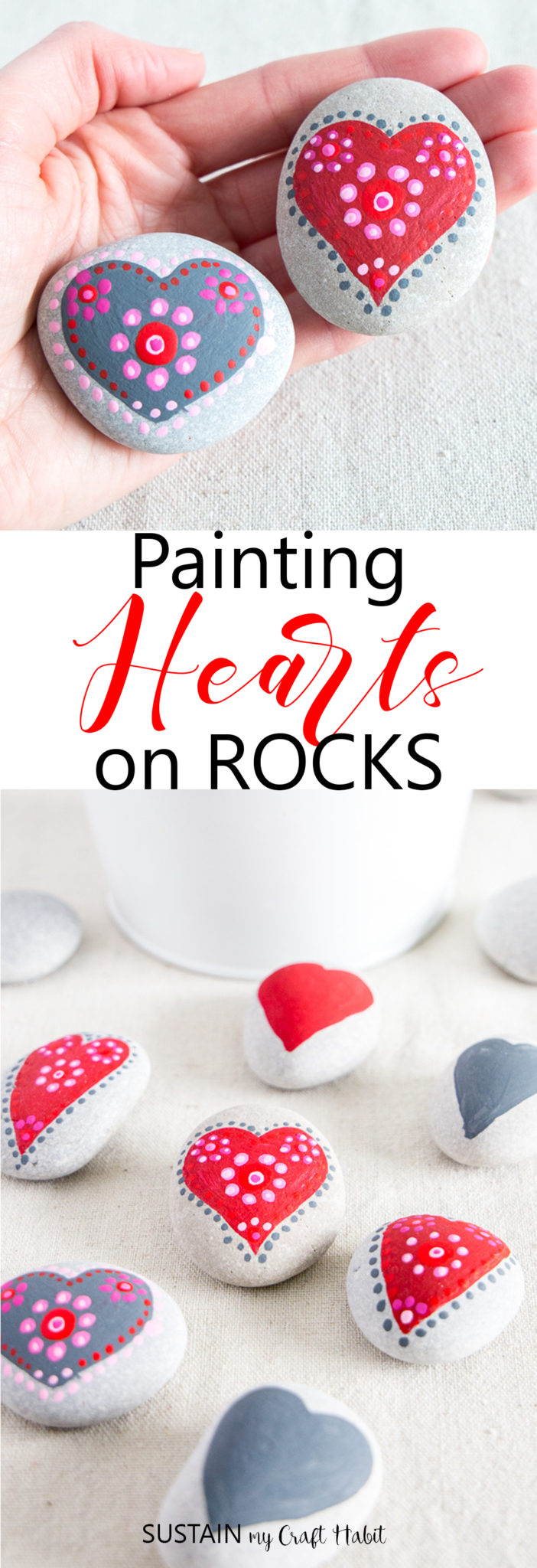 heart painting rocks