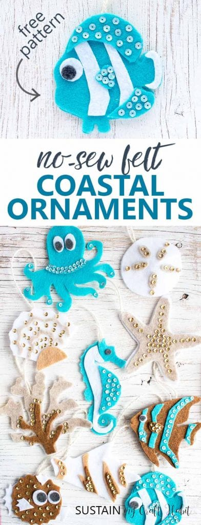 ocean creatures felt ornament patterns