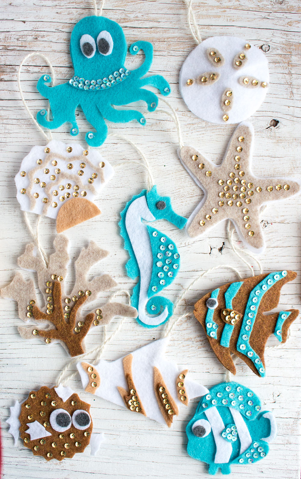ocean life themed no sew felt ornament patterns