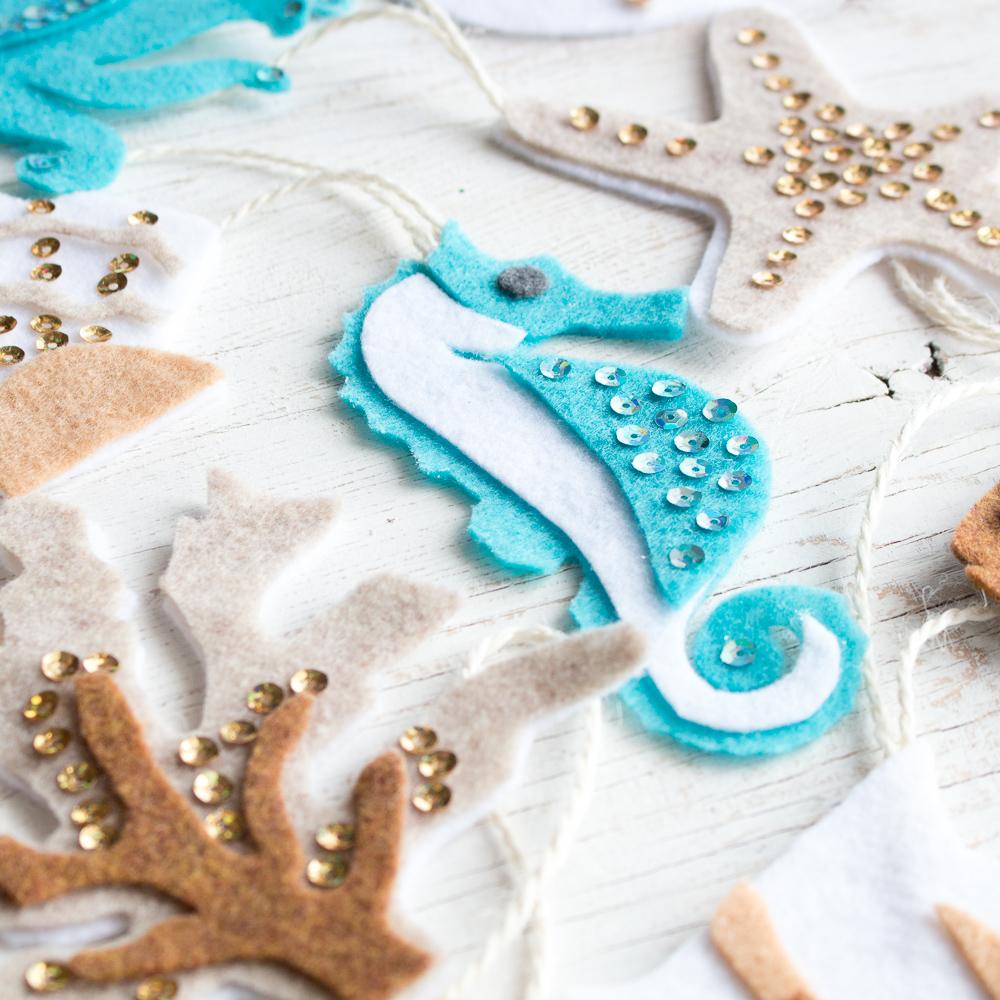 Seahorse no-sew felt ornaments