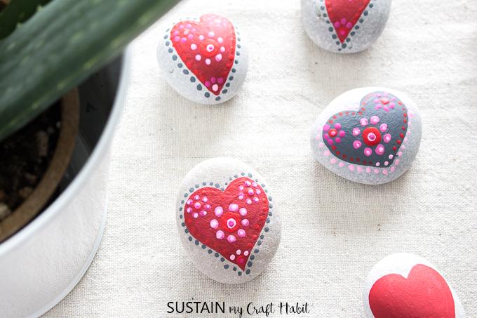 Painting Rocks With Love Painted Mandala Hearts Sustain My Craft Habit