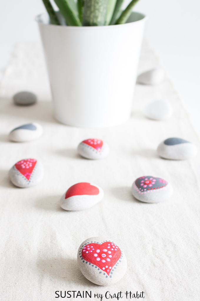 painted heart rocks mandalas