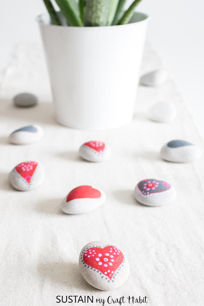 painted heart rocks mandalas
