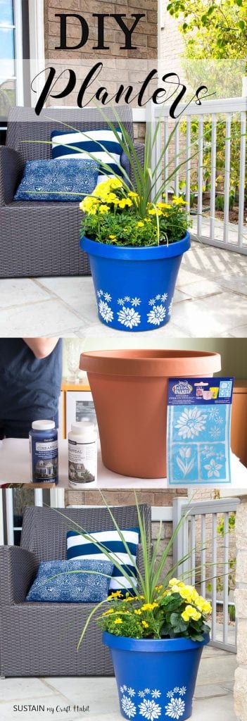 Painted plastic terra cotta planter in blue with a white flower stencil, filled with yellow flowers on a porch