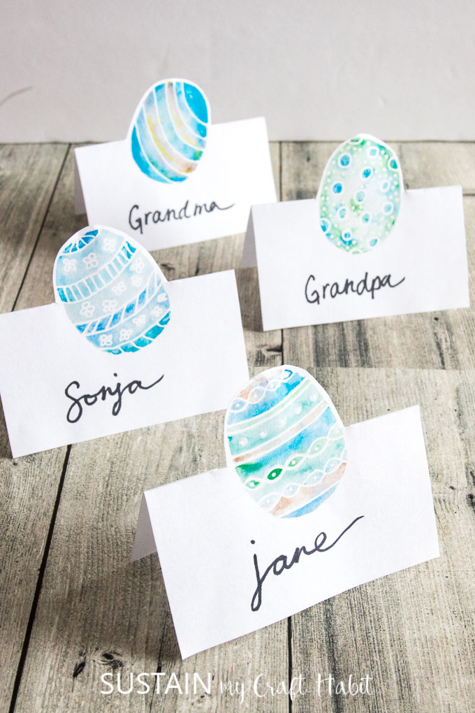 Card Making Ideas Easter Part - 47: Four Designs Of Easter Place Cards In Blues And Greens