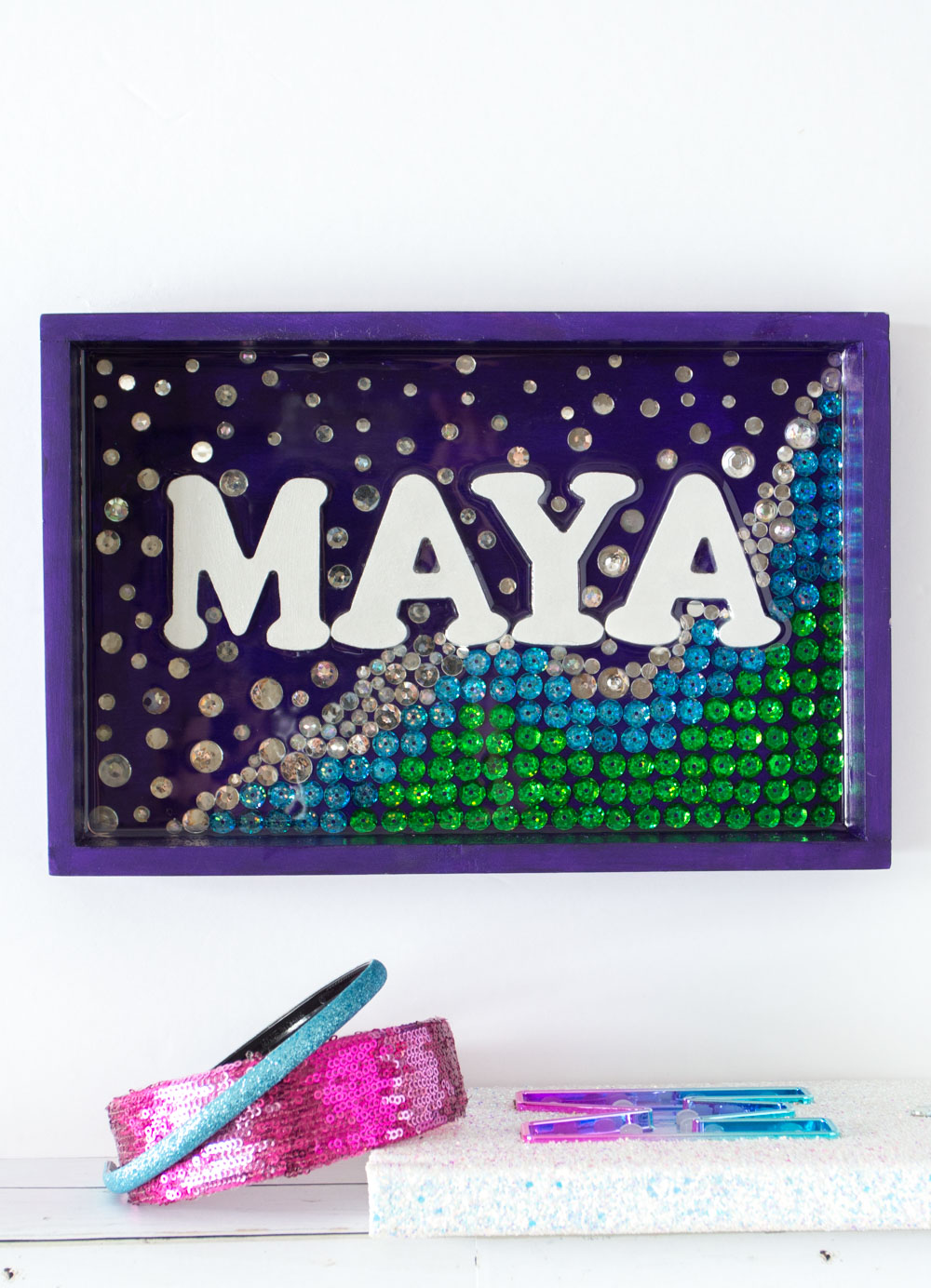 Purple, green, blue and silver personalized mermaid wall decor