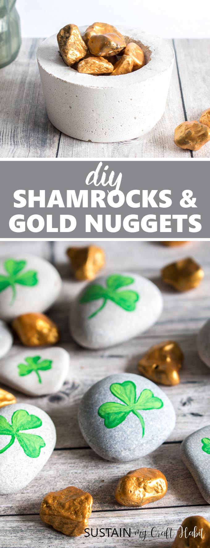 Collage of images showing the completed painted gold nuggets and shamrock stones for St. Patrick's Day.