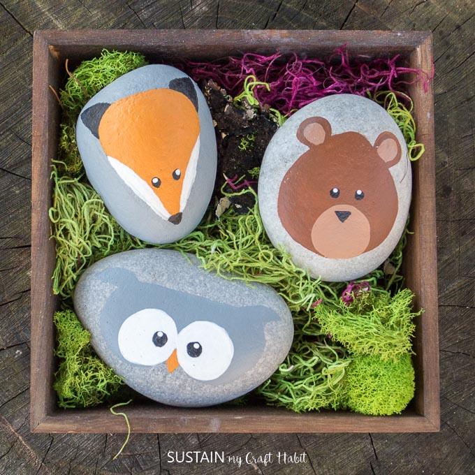 rock painting - woodland animals