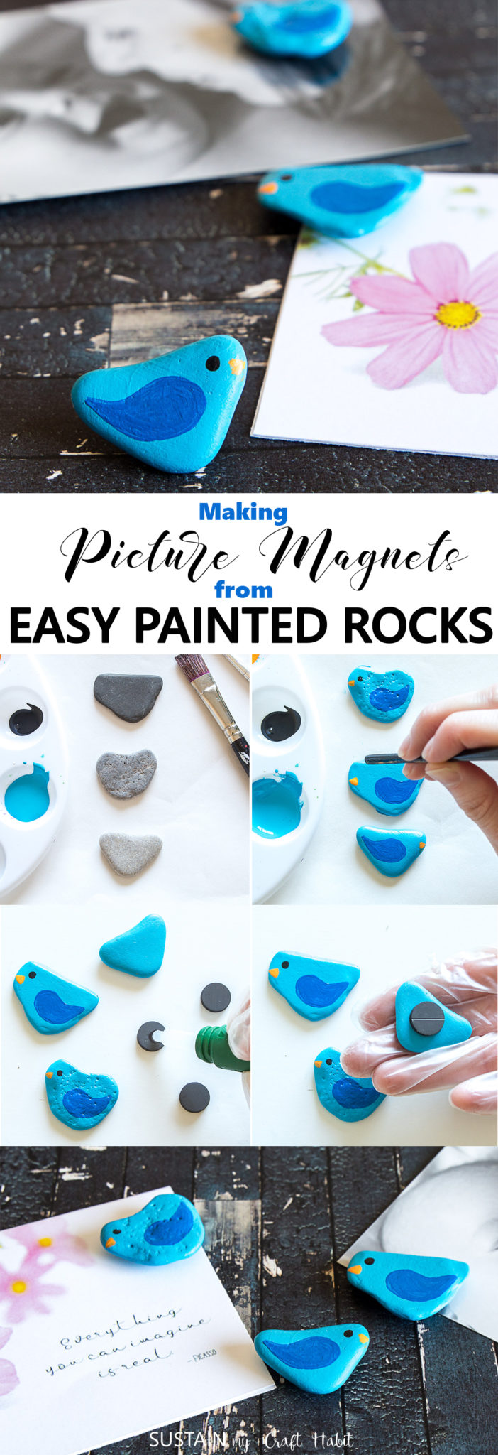 Adorable and easy painted rocks! These little painted rock birds were turned into useful fridge magnets. Pretty spring decor idea! #rockpainting #birds #paintedrocks #springcrafts