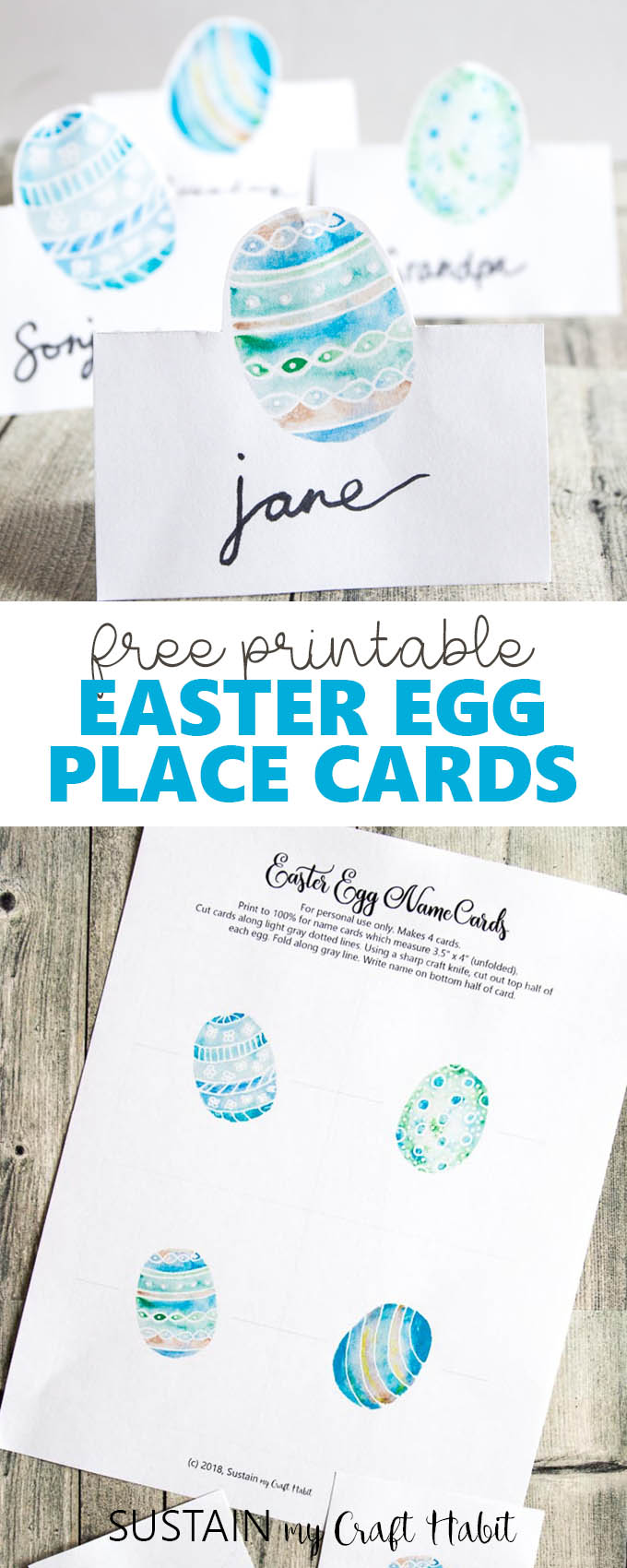 Collage of free printable Easter place cards