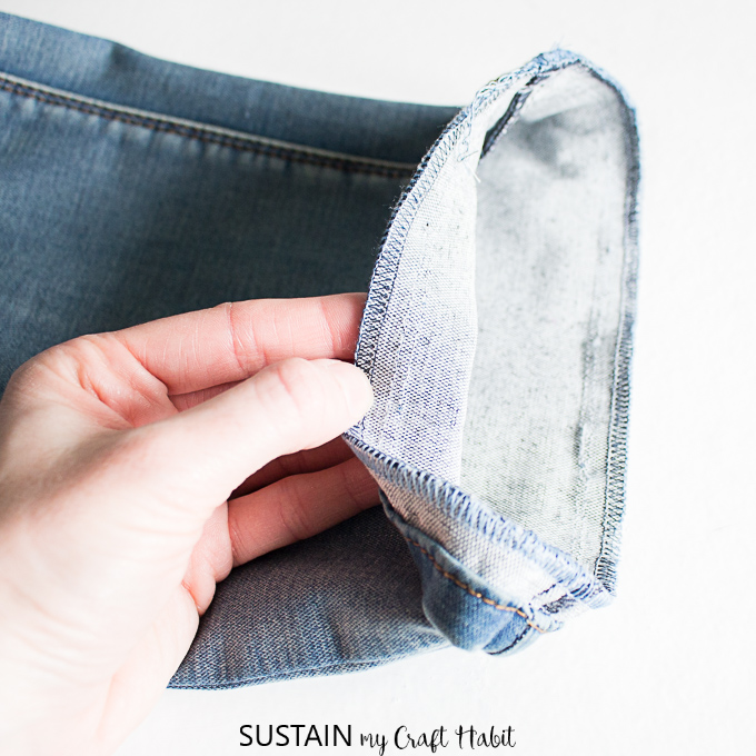 hemming jeans with the original hem
