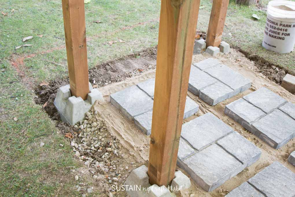 Raising the posts for the outdoor shower