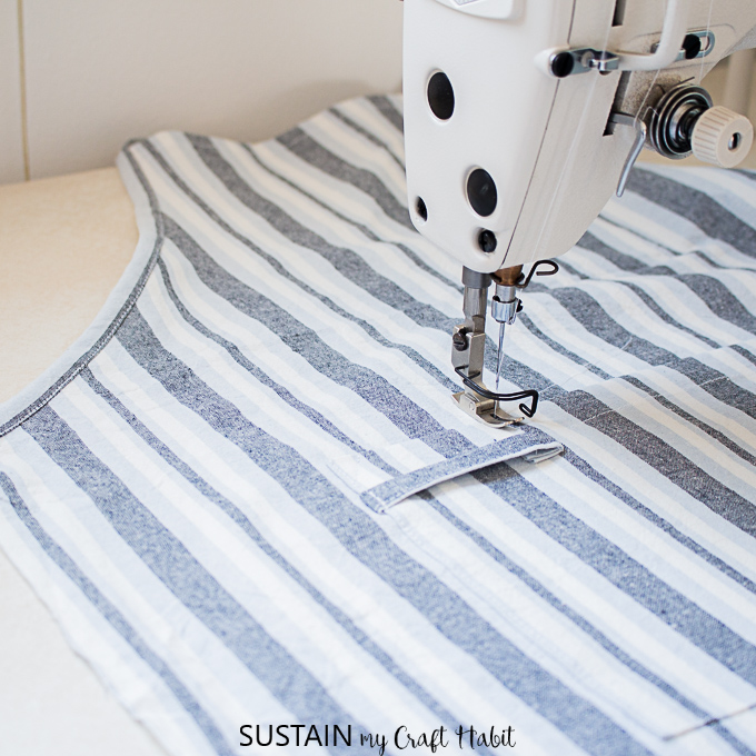 sewing a loop on apron pocket