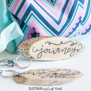 Hand Lettered Wood Slice DIY Keychains with EnviroTex Lite Resin
