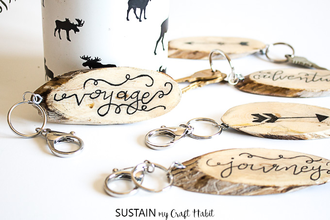 Hand Lettered Wood Slice DIY Keychains with EnviroTex Lite