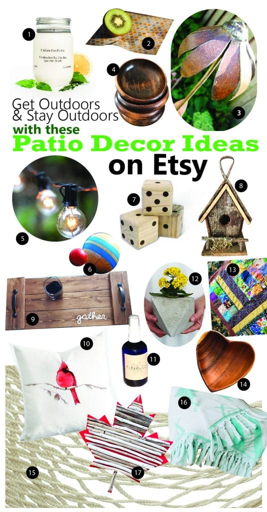 Collage of eco-friendly patio decor ideas on Etsy