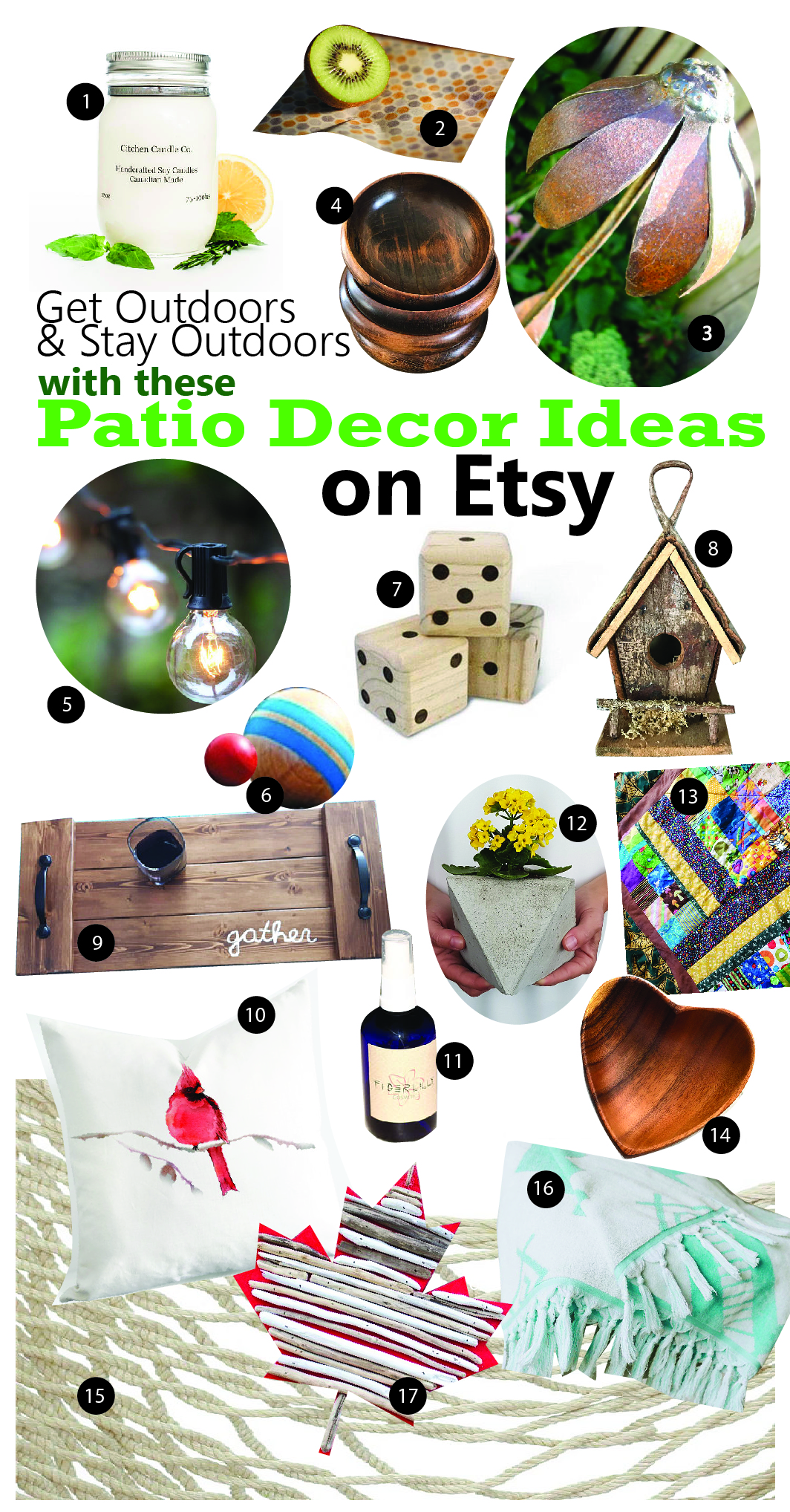 Collage of eco-friendly patio decor ideas from Etsy