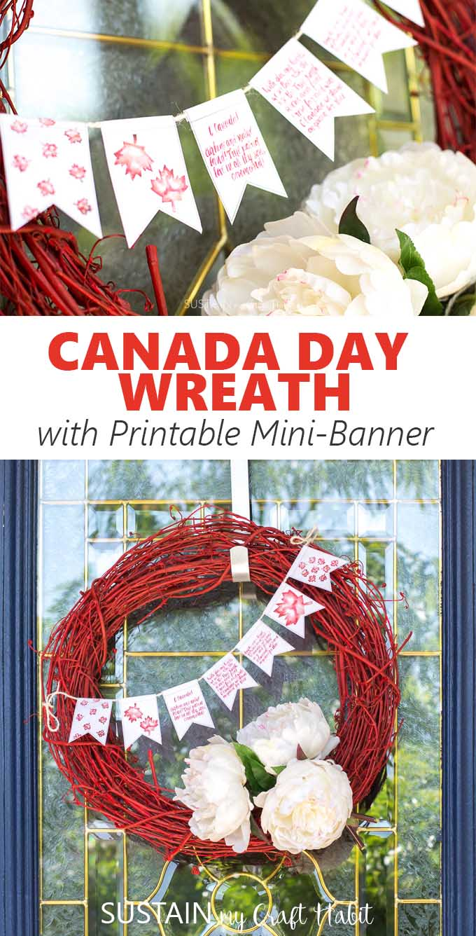 Collage of ideas for a red and white Canada Day wreath.