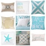 Cotton and linen coastal throw pillows
