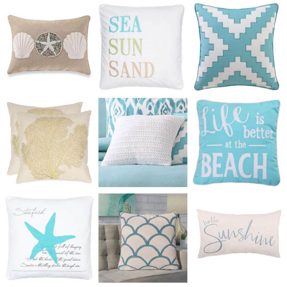 Cotton and linen coastal throw pillows