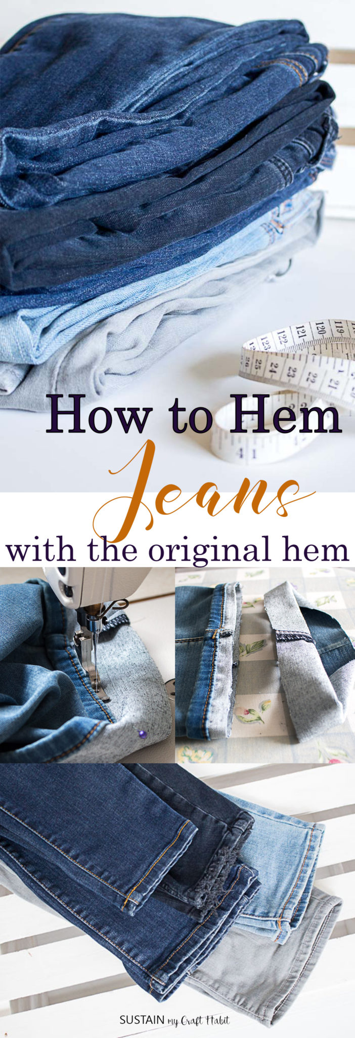 Collage of images showing how to hem jeans