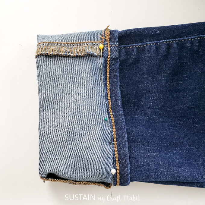 how to hem tapered leg jeans